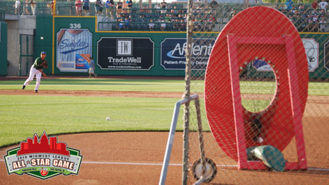 Loons shortstop throws at a target during the Infield Throw Competition.