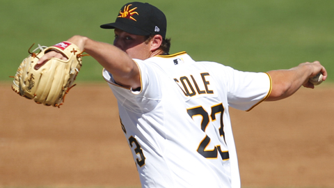 Gerrit Cole threw 35 of 52 pitches for strikes in his Fall League debut.