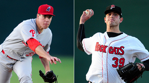 Trevor May (left) struck out five, while Dave Bromberg allowed one hit.